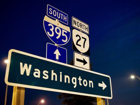 Road sign that says Washington in Washington DC